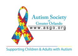 Logo for Autism Society of Greater Orlando. www.asgo.org. Supporting Children & Adults with Autism.