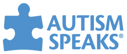 Logo for Autism Speaks, with a blue jigsaw puzzle piece.