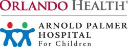 Logo for Orlando Health. Arnold Palmer Hospital for Children, with two stick figures holding hands.