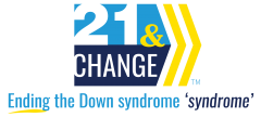 "Logo for 21 and Change. Ending the Down syndrome ""syndrome."""