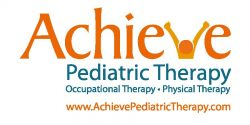 Logo for Achieve Pediatric Therapy. Occupational therapy, physical therapy. www.AchievePediatricTherapy.com