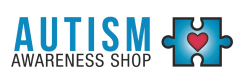 Logo for Autism Awareness Shop with red heart on a blue jigsaw puzzle piece.