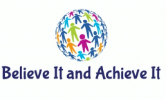 Believe It and Achieve It logo with globe made of multicolored stick figures.