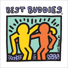Best Buddies logo, with art by Keith Haring showing two people with their arms around each other's shoulders.