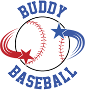 Buddy Baseball logo, with two stars, one red and one blue, spinning around a baseball.