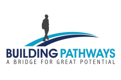 Building Pathways logo. A bridge for great potential. With silhouette of a person walking along a blue trail.