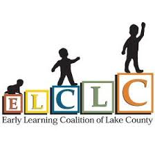 Logo for Early Learning Coalition of Lake County, with growing person climbing up blocks.