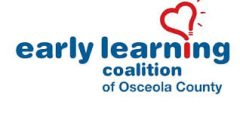 Logo for Early Learning coalition of Osceola County, with red lightbulb shaped like a heart.