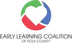 Early Learning Coalition of Polk County logo, with white heart in red, green, and blue ball.