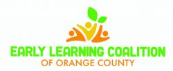 Logo for Early Learning coalition of Orange County, with three orange figures and two green leaves.