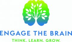 Logo for Engage the Brain. Think. Learn. Grow. Shows a small tree growing.