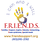 Logo for F.R.I.E.N.D.S with a handprint. www.friendssupport.org. 813-245-2782