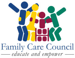 Logo for Family Care Council. Educate and empower. Shows four stick figures, one in a wheelchair, huddling together.