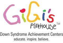 Logo for Gigi's Playhouse. Down Syndrome Achievement Centers. Educate. Inspire. Believe.