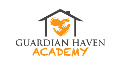 Logo for Guardian Haven Academy, with orange heart held by two hands inside a house.