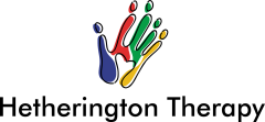 Hetherington Therapy logo with multicolored handprint.