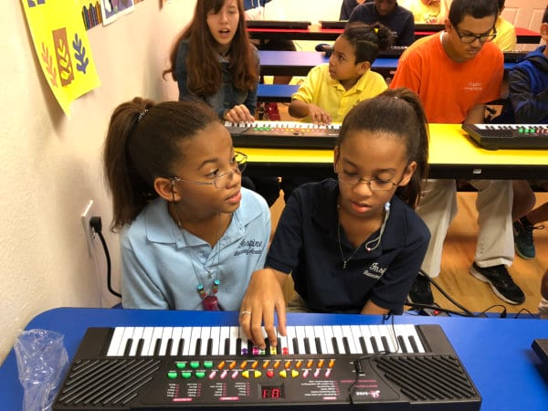 Children in a classroom playing on electric piano keyboards.