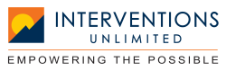 Logo for Interventions Unlimited, with a sunset on a mountain.