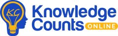 Logo for Knowledge Counts Online with yellow lightbulb inside a blue head.