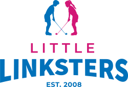 Little Linksters logo, with a boy and a girl crossing their golf clubs.