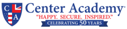 Logo for Center Academy. Happy, secure, inspired. Celebrating 50 years.