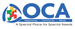 Logo for OCA. Opportunity, Community, Ability. A special place for special needs.