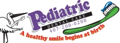 Logo for Pediatric Dental Care, with large green toothbrush and a stork holding another toothbrush.