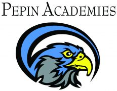 Pepin Academies logo with a gray and blue eagle head.