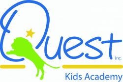 """Logo for Quest Kids Academy, with lion jumping through the Q in """"quest."""""""