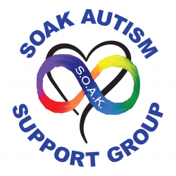 SOAK Autism Support Group logo with rainbow infinity sign in front of a heart shape.