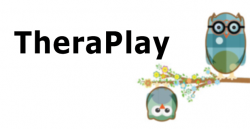 TheraPlay logo with two owls on a flowery branch.