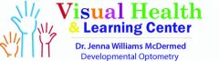 Logo for Visual Health and Learning Center. Dr. Jenna Williams McDermed, Developmental Optometry.