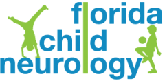 Logo for Florida Child Neurology, with two silhouettes of children exercising.