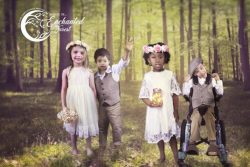 Enchanted Forest advertisement with four children in a forest.