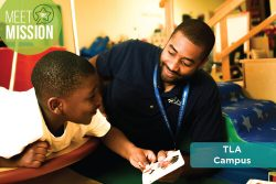 Meet the Mission, TLA Campus banner. Shows a man reading to a young boy.