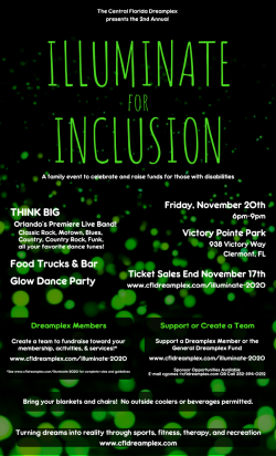 Central Florida Dreamplex flyer for Illuminate for Inclusion. Friday Nov 20th 6pm to 9pm.