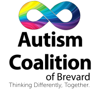 Autism Coalition of Brevard county logo with infinity symbol with rainbow colors