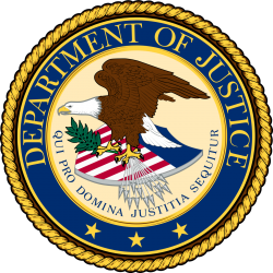 Department of Justice badge; eagle with arrows and olive branch