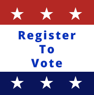 register to vote badge. red white and blue with stars.