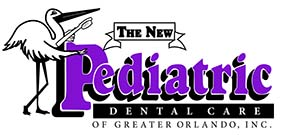 The New Ped Dental Care logo: A stork standing next to the words: The New Pediatric Dental Care Of Greater Orlando, Inc.