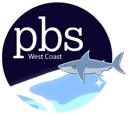 Logo for PBS West Coast, with a shark on top of an ocean wave.