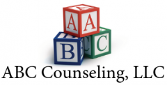 Logo for ABC Counseling, LLC, with three building blocks with the letters A, B, and C on them.