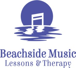 Logo for Beachside Music Lessons & Therapy, showing a sunset with a double sixteenth music note.