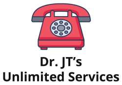 Dr. JT's Unlimited Services logo with red telephone.