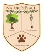 Logo for Nature's Place, with a shield with pictures of a tree, a key, and a paw print.