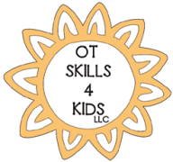 Logo for OT Skills 4 Kids LLC, inside an orange-yellow sun.