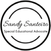 Logo for Sandy Santeiro, Special Educational Advocate, in black ring.
