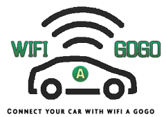 Logo for WiFi a Gogo, with Wi-Fi waves coming from a car.