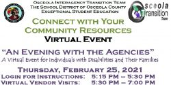 An ad for the Osceola school district virtual event An evening with the agencies.