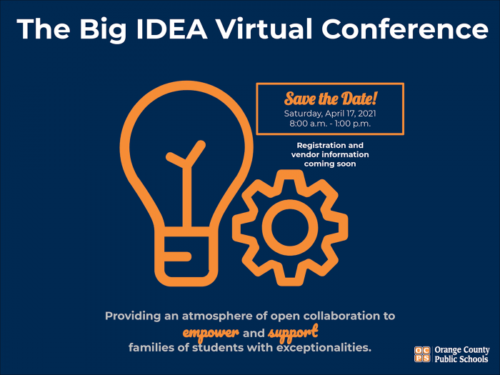 Big IDEA Virtual Conference Event Graphic with April 17, 2021 Date and Time 8 A.M. to 1 P.M.